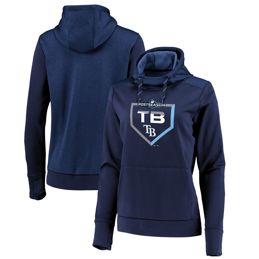 Tampa Bay Rays Majestic Women's 2019 Postseason Dugout Authentic Pullover Hoodie Navy
