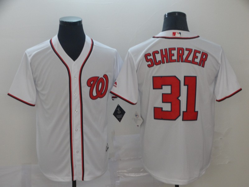 Nationals 31 Max Scherzer White Cool Base Jersey