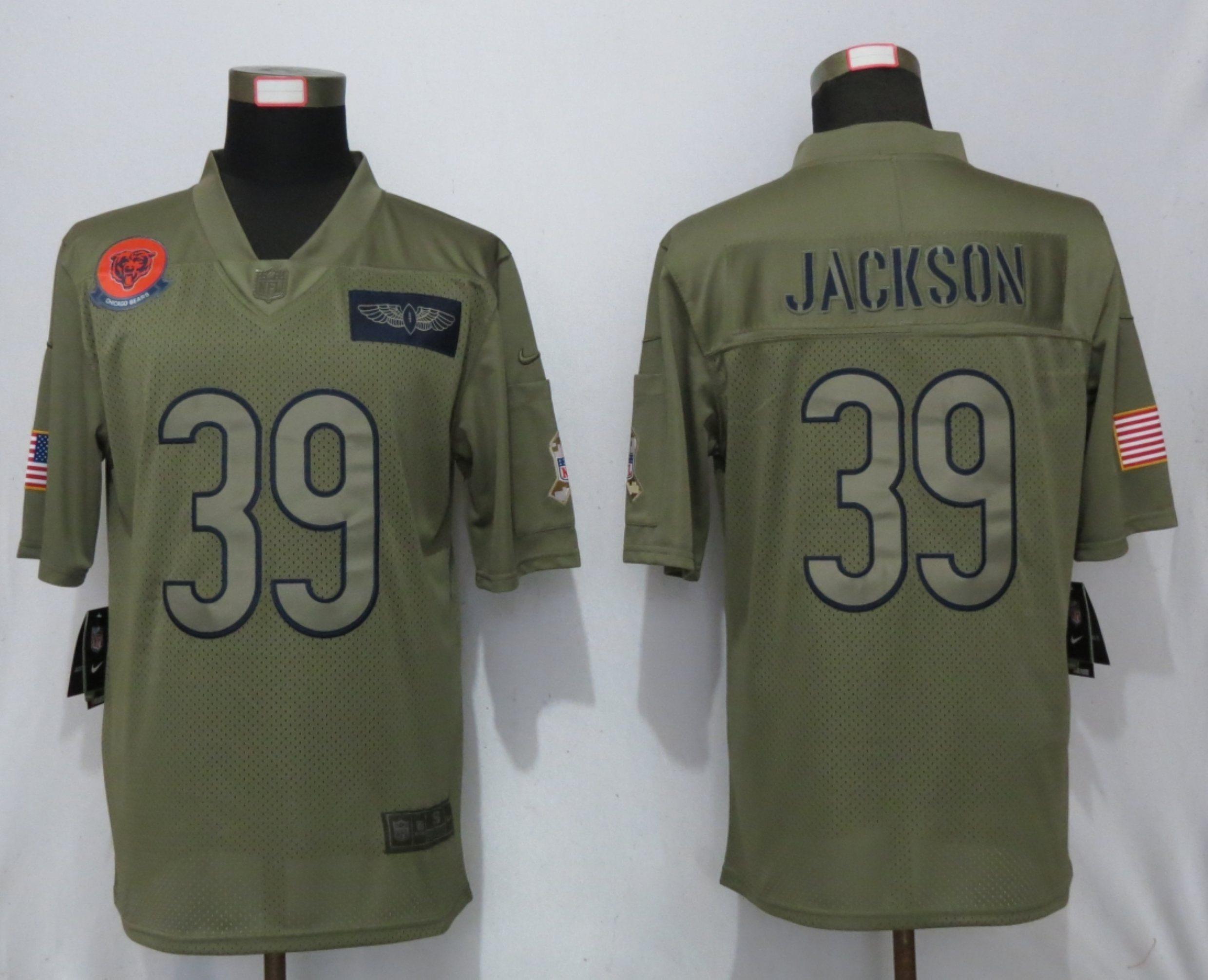 Nike Bears 39 Eddie Jackson 2019 Olive Salute To Service Limited Jersey