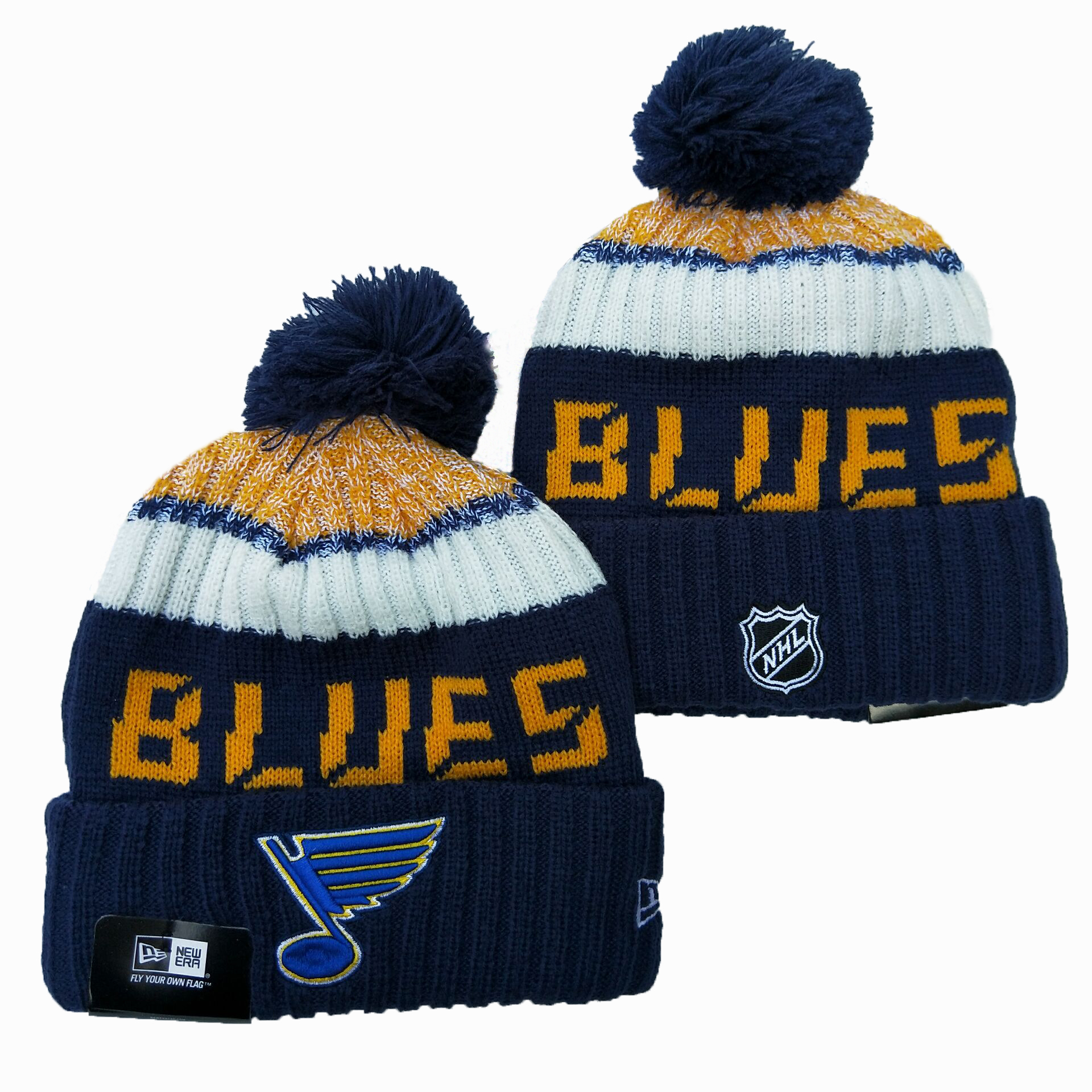 Blues Team Logo Navy Wordmark Cuffed Pom Knit Hat YD