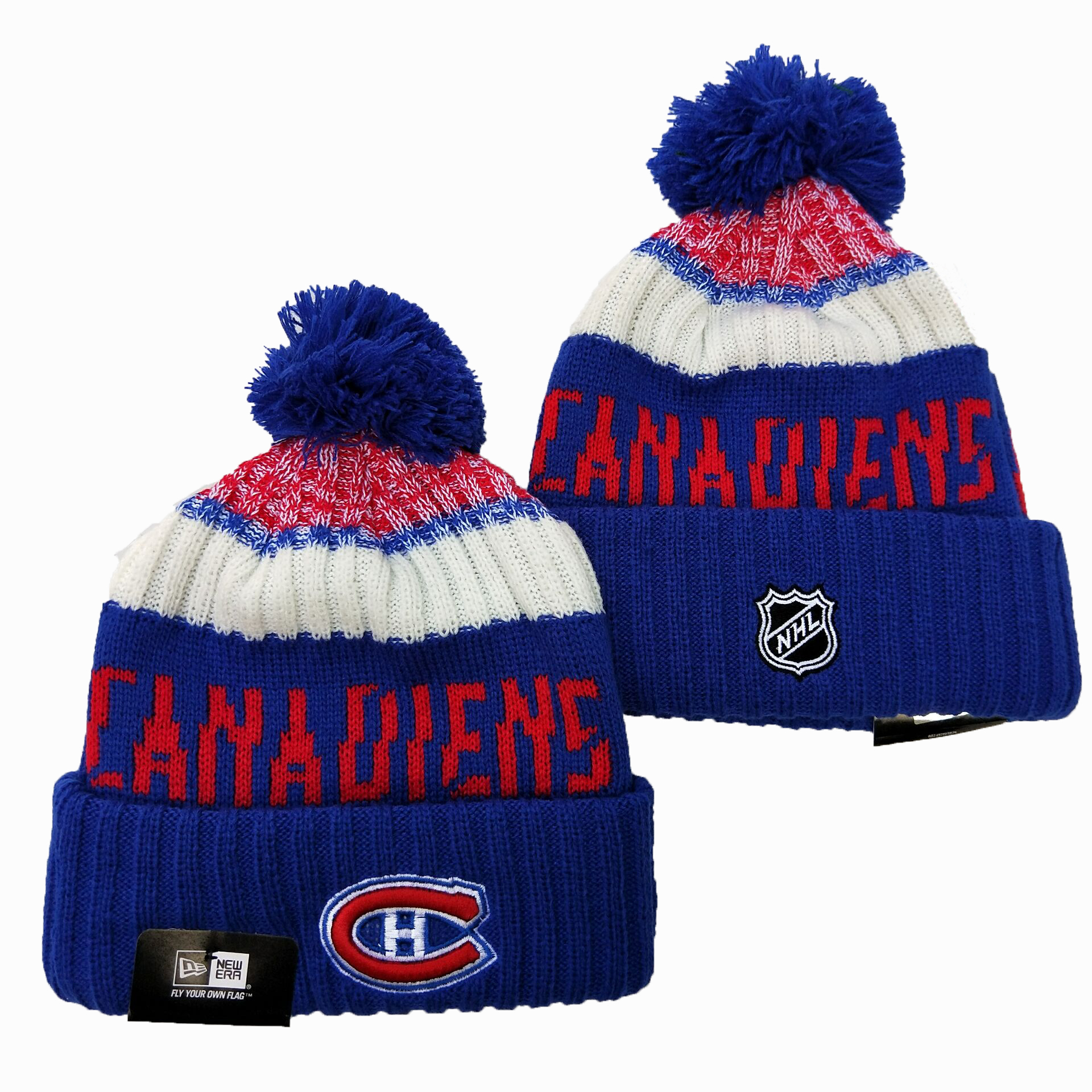 Canadiens Team Logo Royal Wordmark Cuffed Pom Knit Hat YD