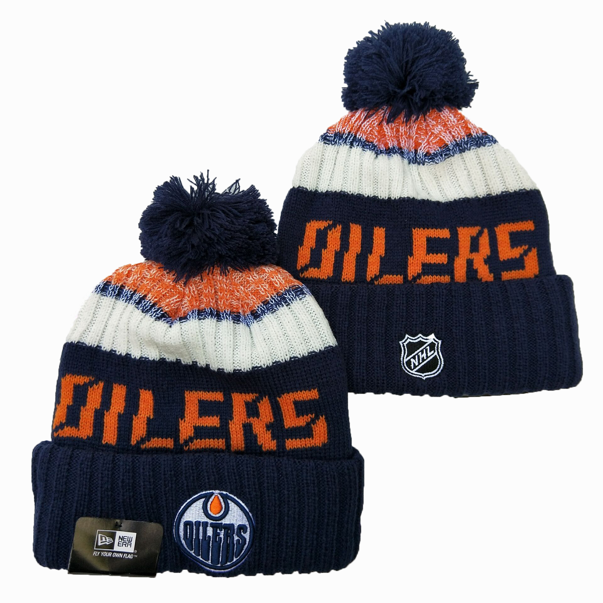 Oilers Team Logo Navy Wordmark Cuffed Pom Knit Hat YD