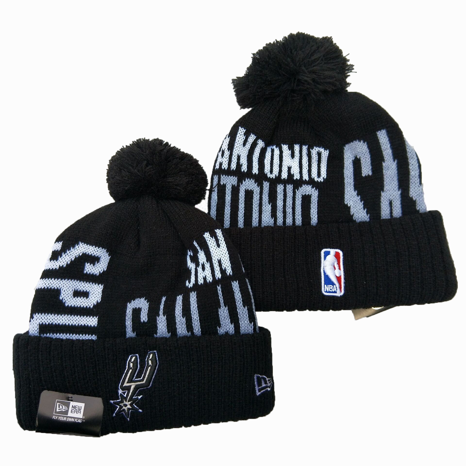 Spurs Team Logo Black Wordmark Cuffed Pom Knit Hat YD