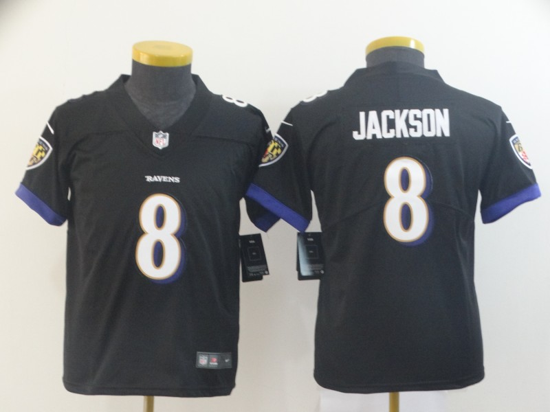 Nike Ravens 8 Lamar Jackson Black Youth Vapor Untouchable Limited Jersey