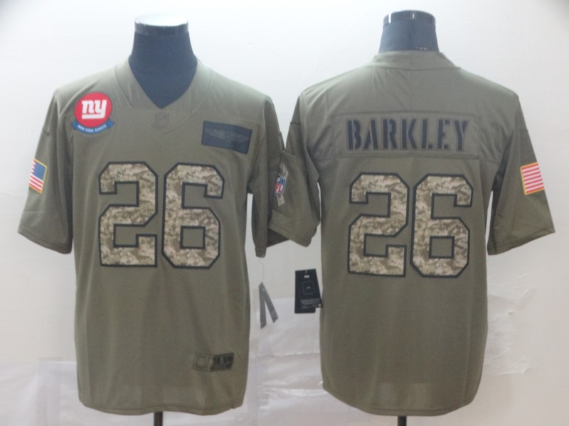Nike Giants 26 Saquon Barkley 2019 Olive Camo Salute To Service Limited Jersey