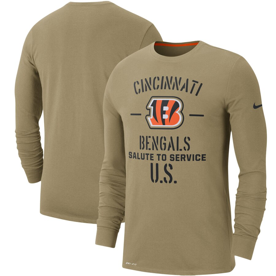 Men's Cincinnati Bengals Nike Tan 2019 Salute to Service Sideline Performance Long Sleeve Shirt