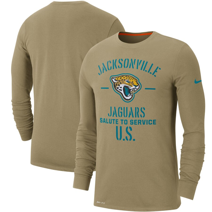 Men's Jacksonville Jaguars Nike Tan 2019 Salute to Service Sideline Performance Long Sleeve Shirt