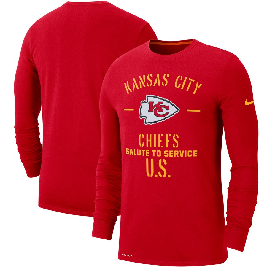 Men's Kansas City Chiefs Nike Red 2019 Salute to Service Sideline Performance Long Sleeve Shirt