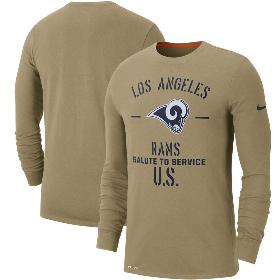 Men's Los Angeles Rams Nike Tan 2019 Salute to Service Sideline Performance Long Sleeve Shirt