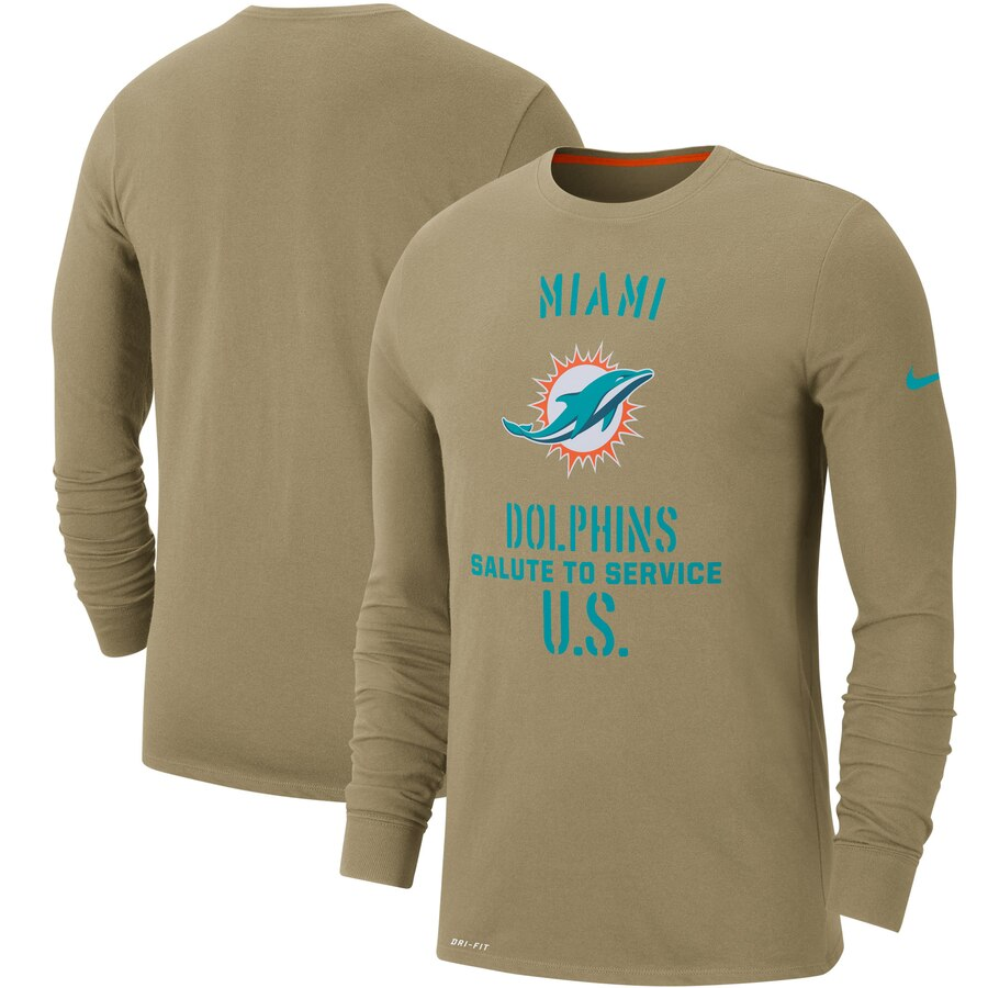 Men's Miami Dolphins Nike Tan 2019 Salute to Service Sideline Performance Long Sleeve Shirt
