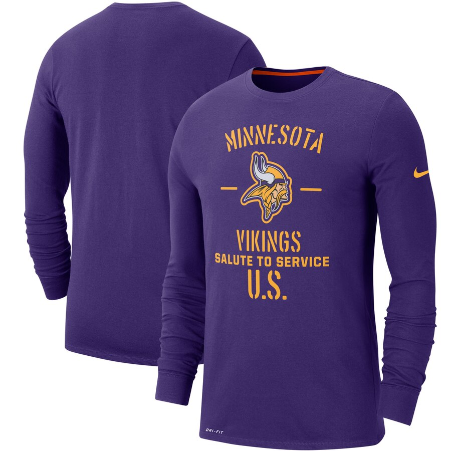Men's Minnesota Vikings Nike Purple 2019 Salute to Service Sideline Performance Long Sleeve Shirt