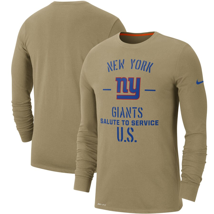 Men's New York Giants Nike Tan 2019 Salute to Service Sideline Performance Long Sleeve Shirt