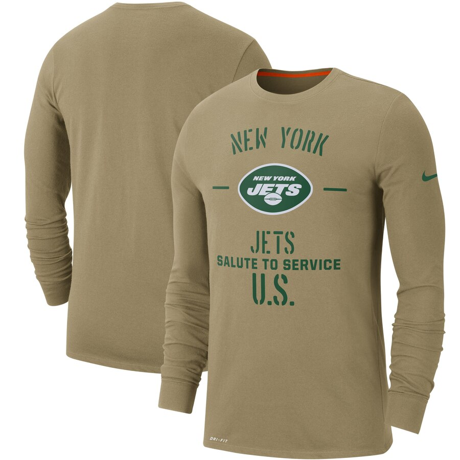Men's New York Jets Nike Tan 2019 Salute to Service Sideline Performance Long Sleeve Shirt