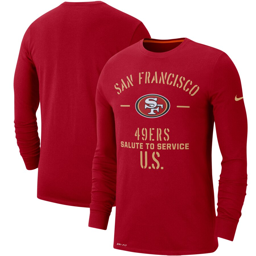 Men's San Francisco 49ers Nike Scarlet 2019 Salute to Service Sideline Performance Long Sleeve Shirt