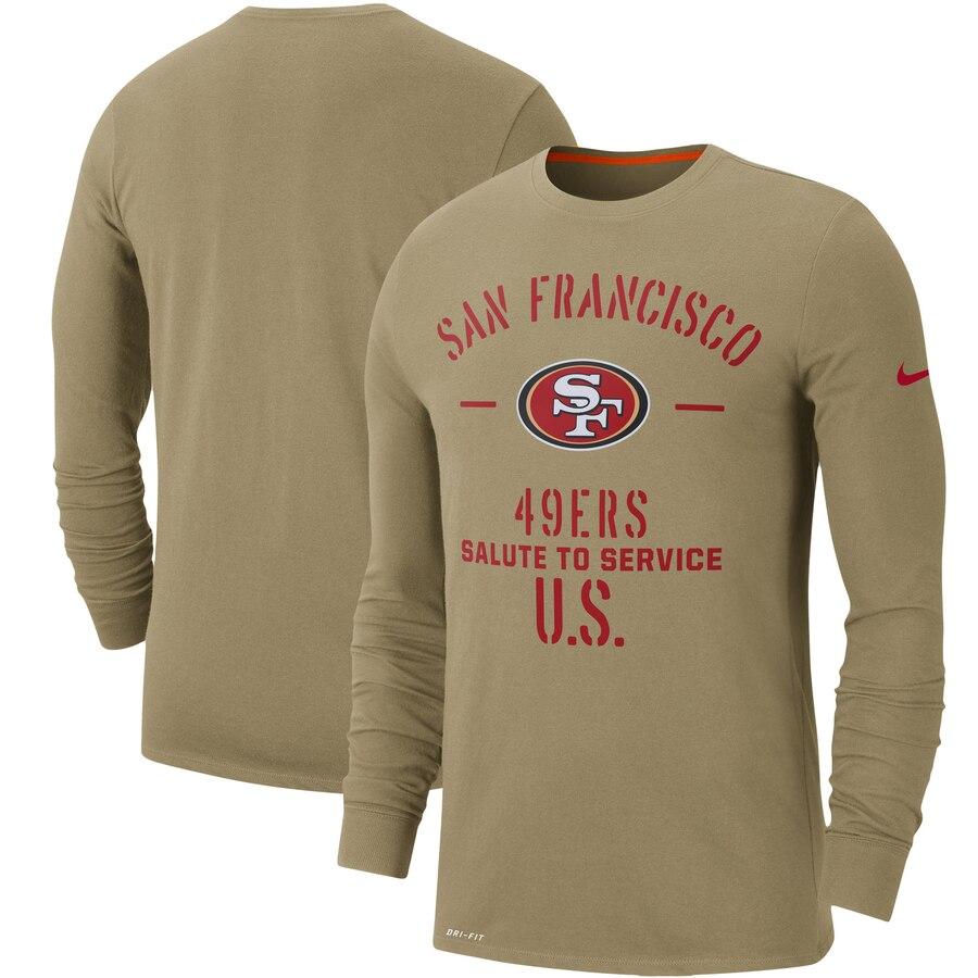 Men's San Francisco 49ers Nike Tan 2019 Salute to Service Sideline Performance Long Sleeve Shirt