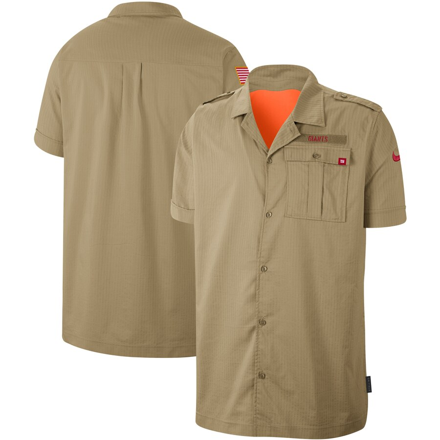 Men's New York Giants Nike 2019 Salute to Service Sideline Woven Button Up Short Sleeve Shirt