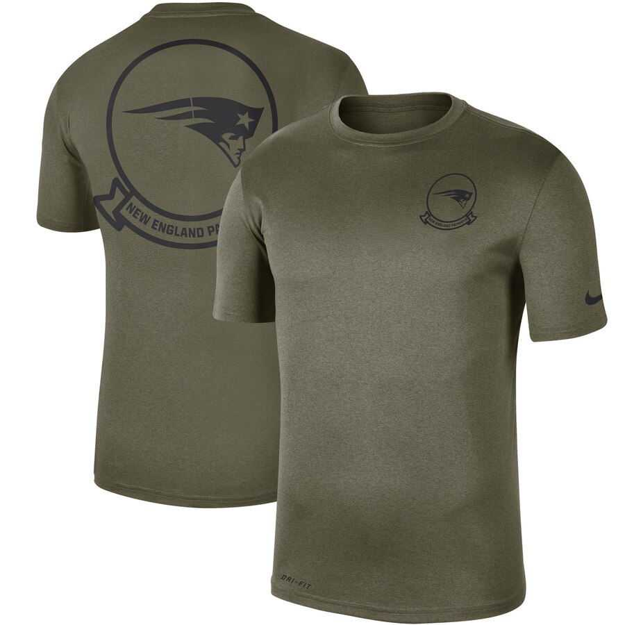 Men's New England Patriots Nike Olive 2019 Salute to Service Sideline Seal Legend Performance T-Shirt