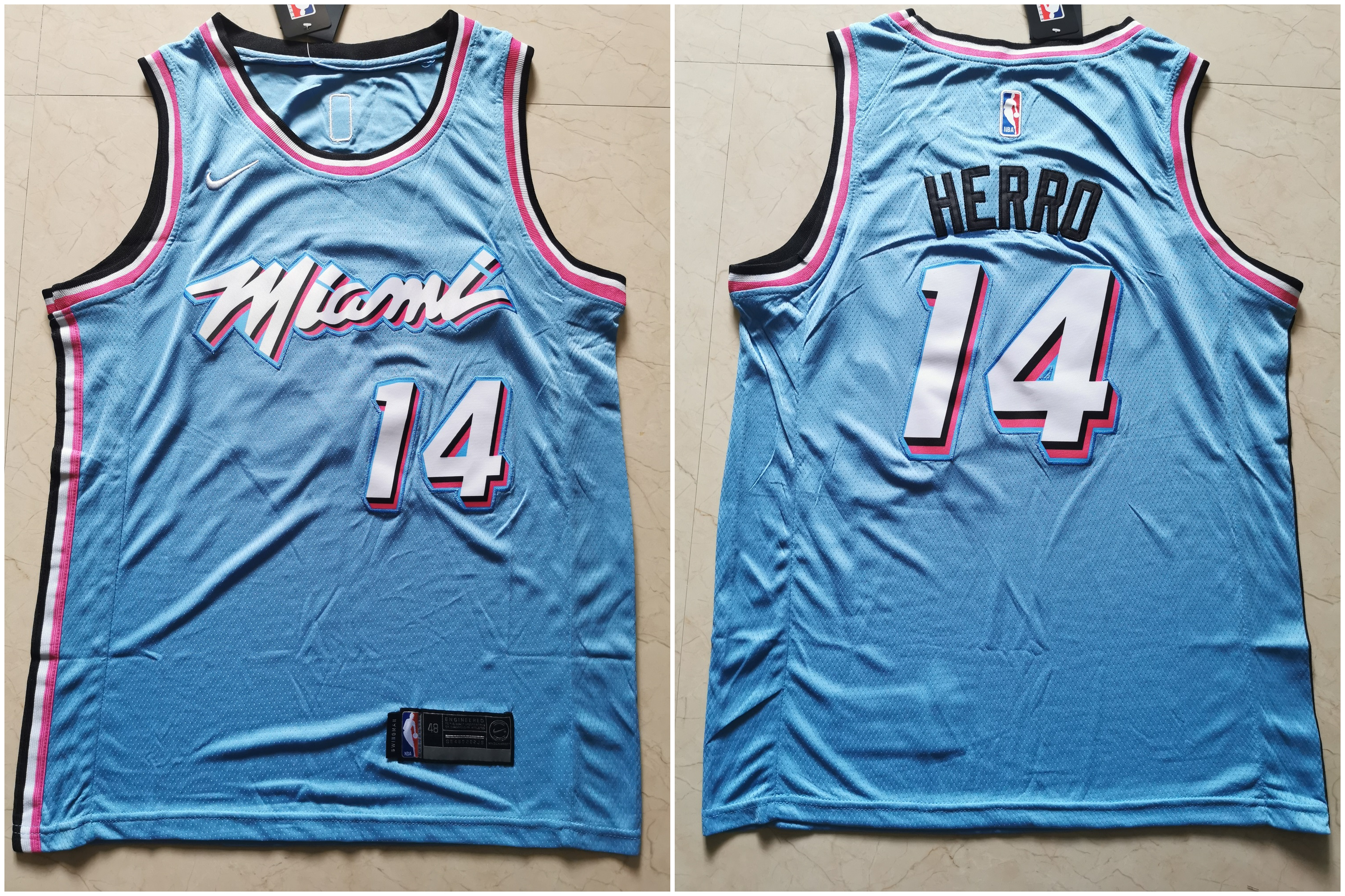 Heat 14 Tyler Herro Light Blue Nike City Edition Swingman Jersey