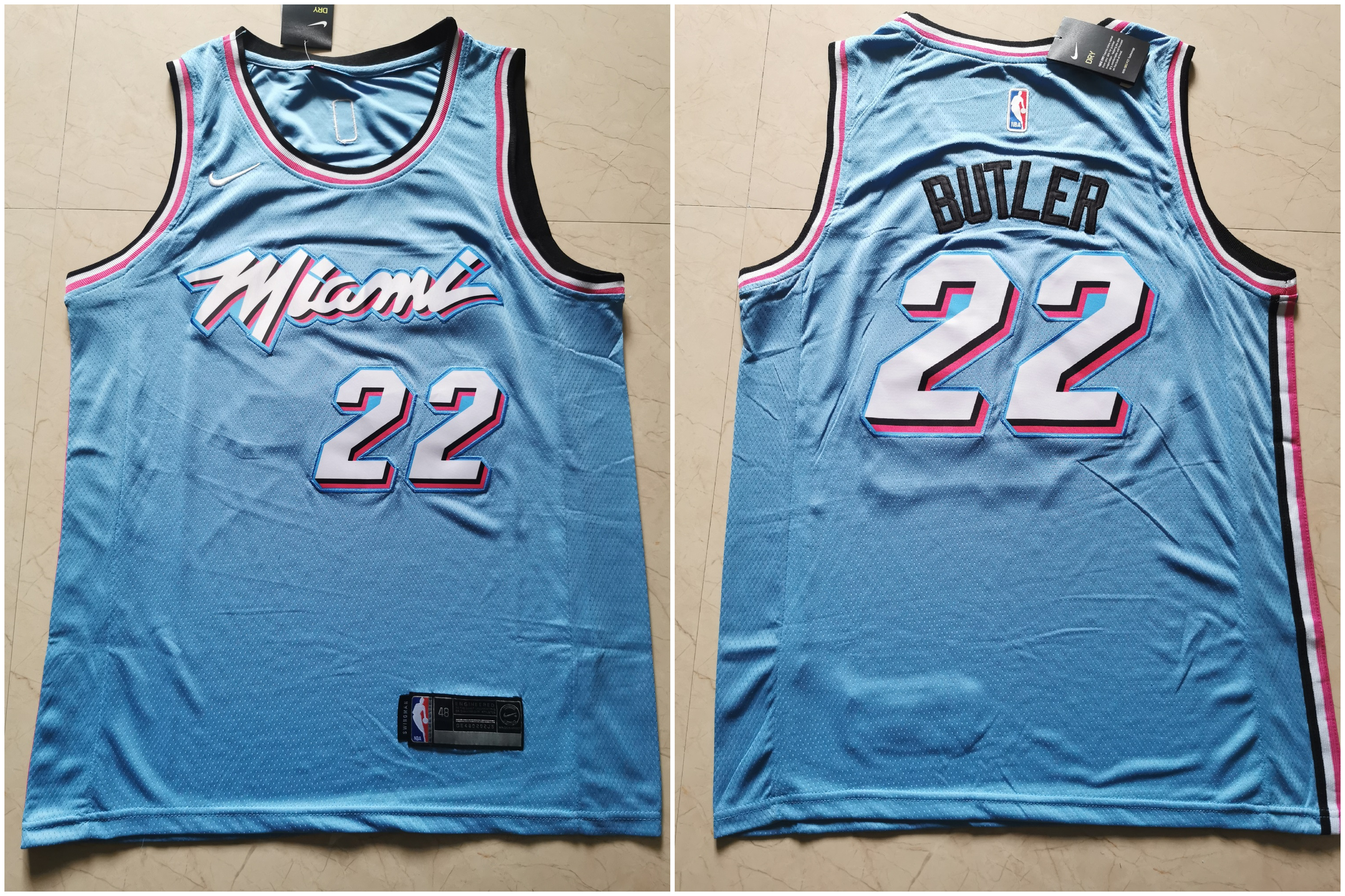 Heat 22 Jimmy Butler Light Blue Nike City Edition Swingman Jersey
