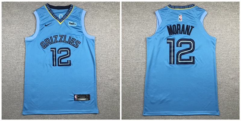 Grizzlies 12 Ja Morant Light Blue Nike Authentic Jersey