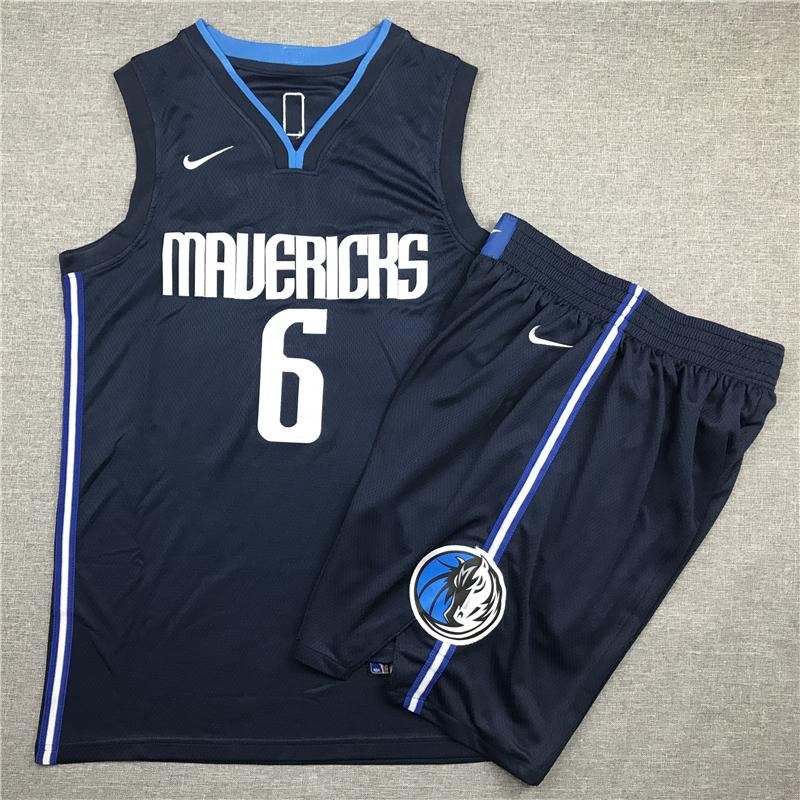 Mavericks 6 Kristaps Porzingis Navy Nike Swingman Jersey(With Shorts)