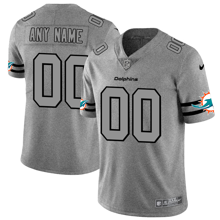 Nike Dolphins Customized 2019 Gray Gridiron Gray Vapor Untouchable Limited Jersey