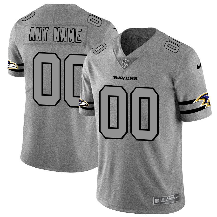 Nike Ravens Customized 2019 Gray Gridiron Gray Vapor Untouchable Limited Jersey
