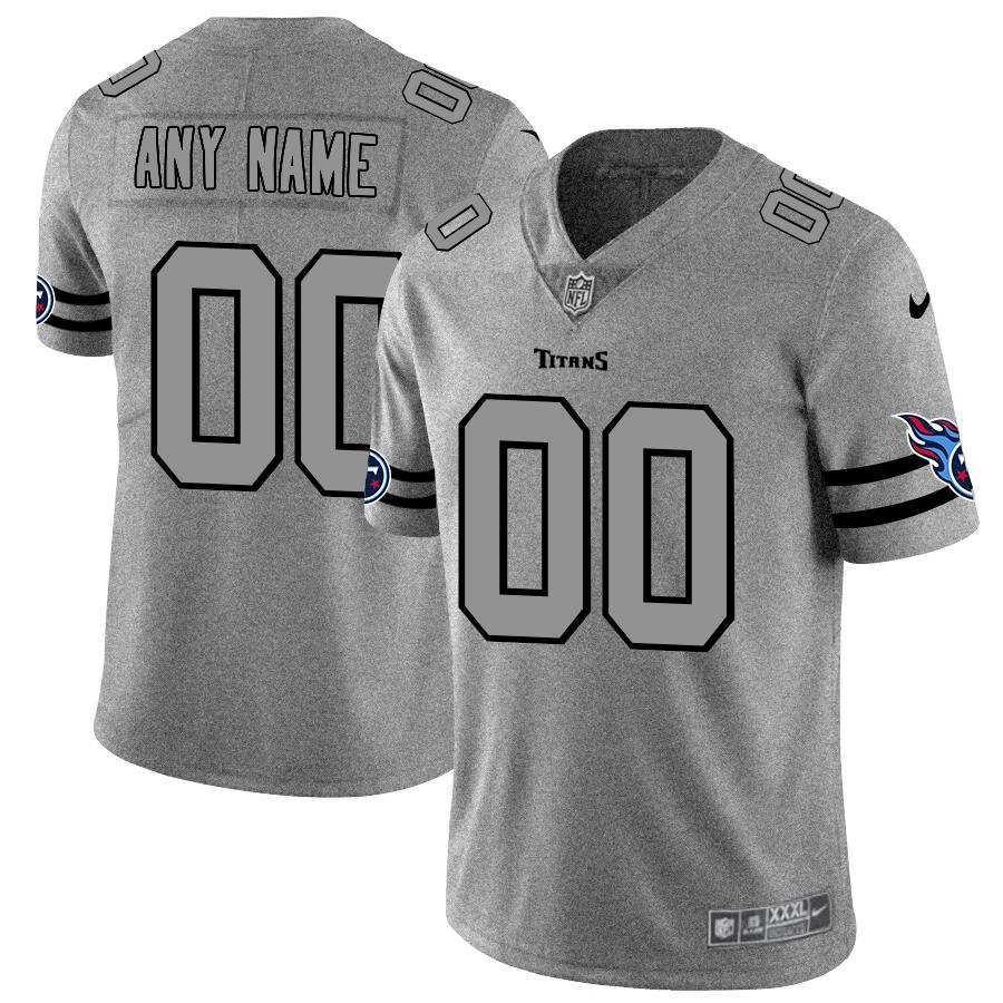 Nike Titans Customized 2019 Gray Gridiron Gray Vapor Untouchable Limited Jersey