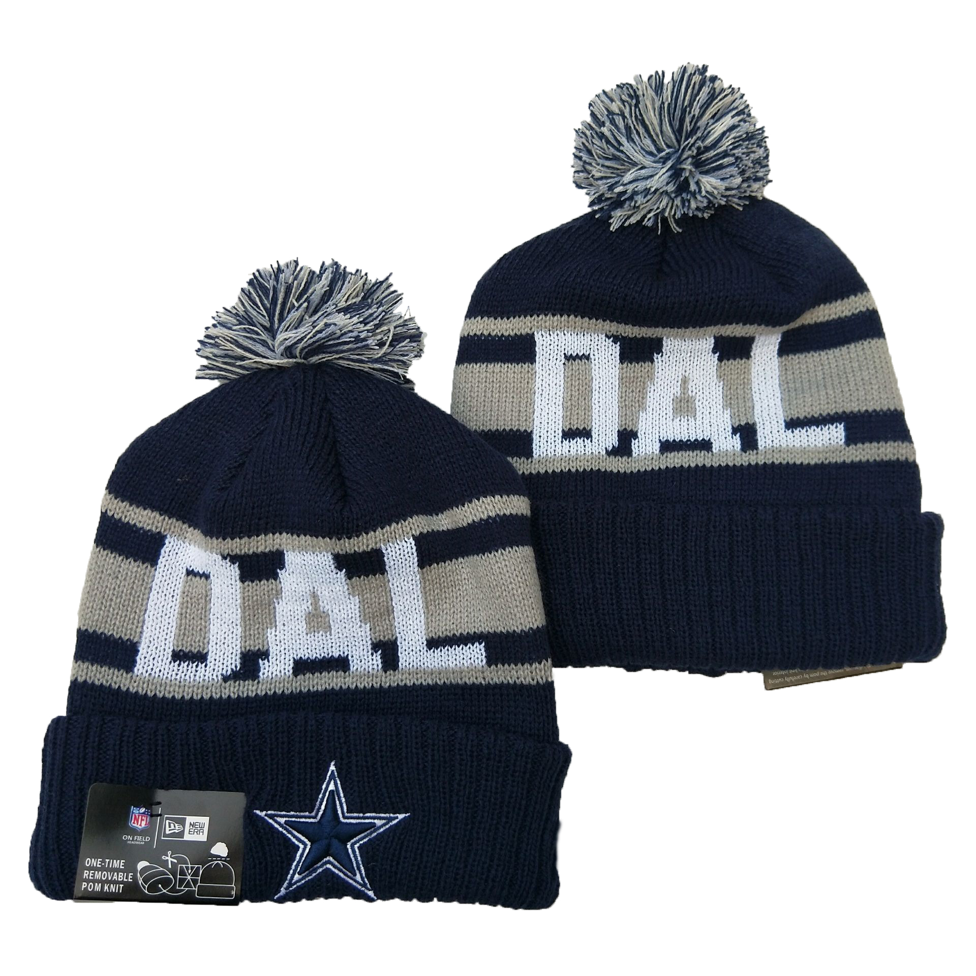 Cowboys Team Logo Navy Pom Knit Hat YD