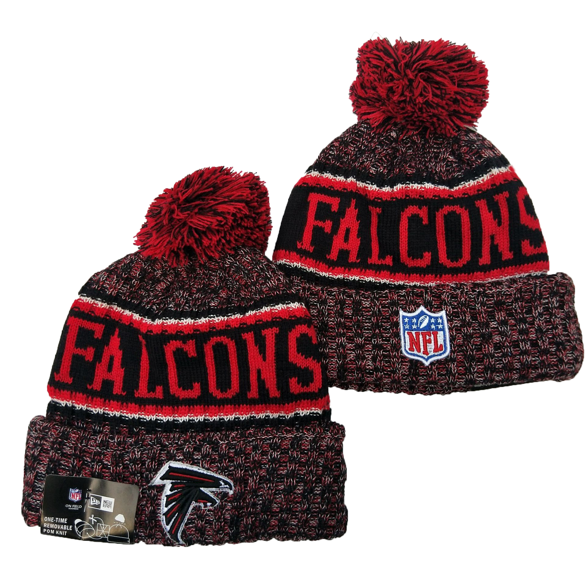 Falcons Team Logo Red Pom Knit Hat YD
