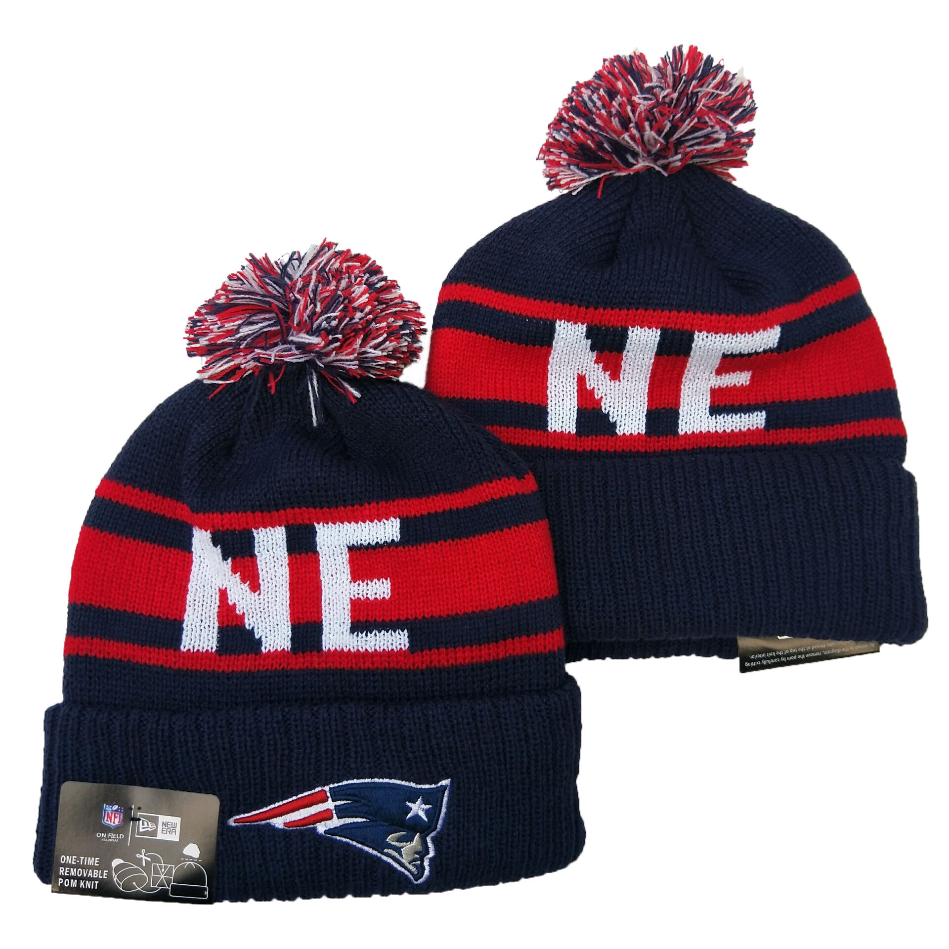 Patriots Team Logo Navy Red Pom Knit Hat YD