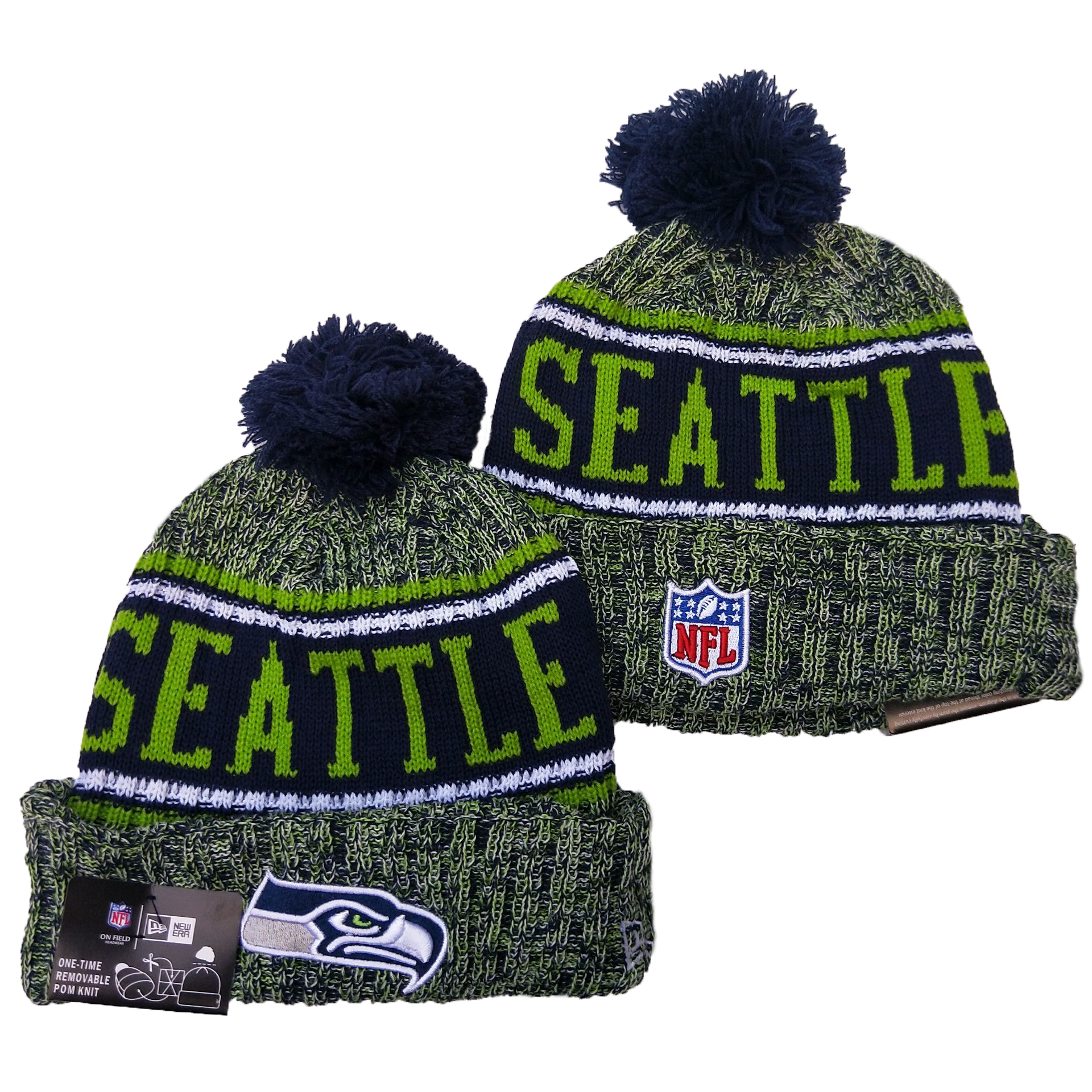 Seahawks Team Logo Green Pom Knit Hat YD