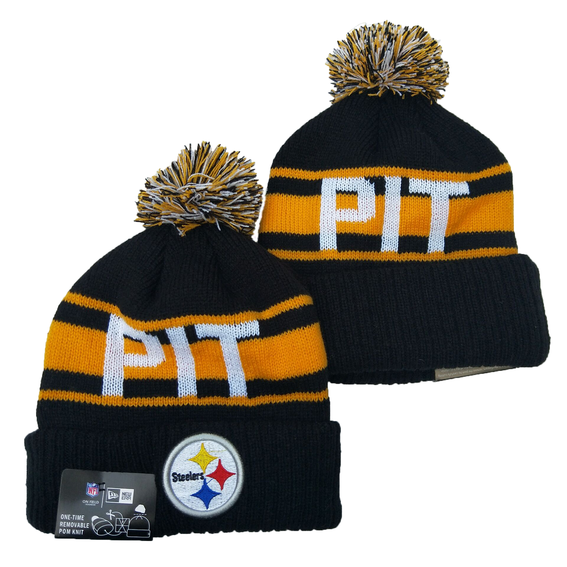 Steelers Team Logo Black Yellow Pom Knit Hat YD
