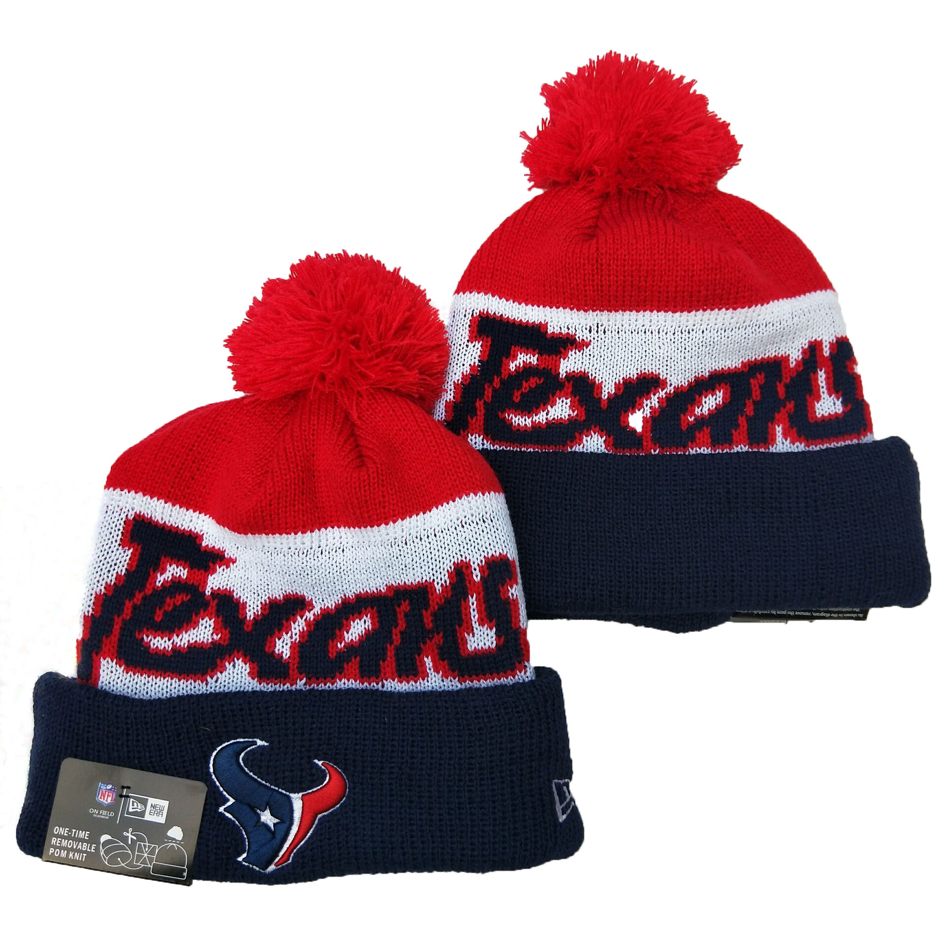 Texans Team Logo Red White Navy Pom Knit Hat YD