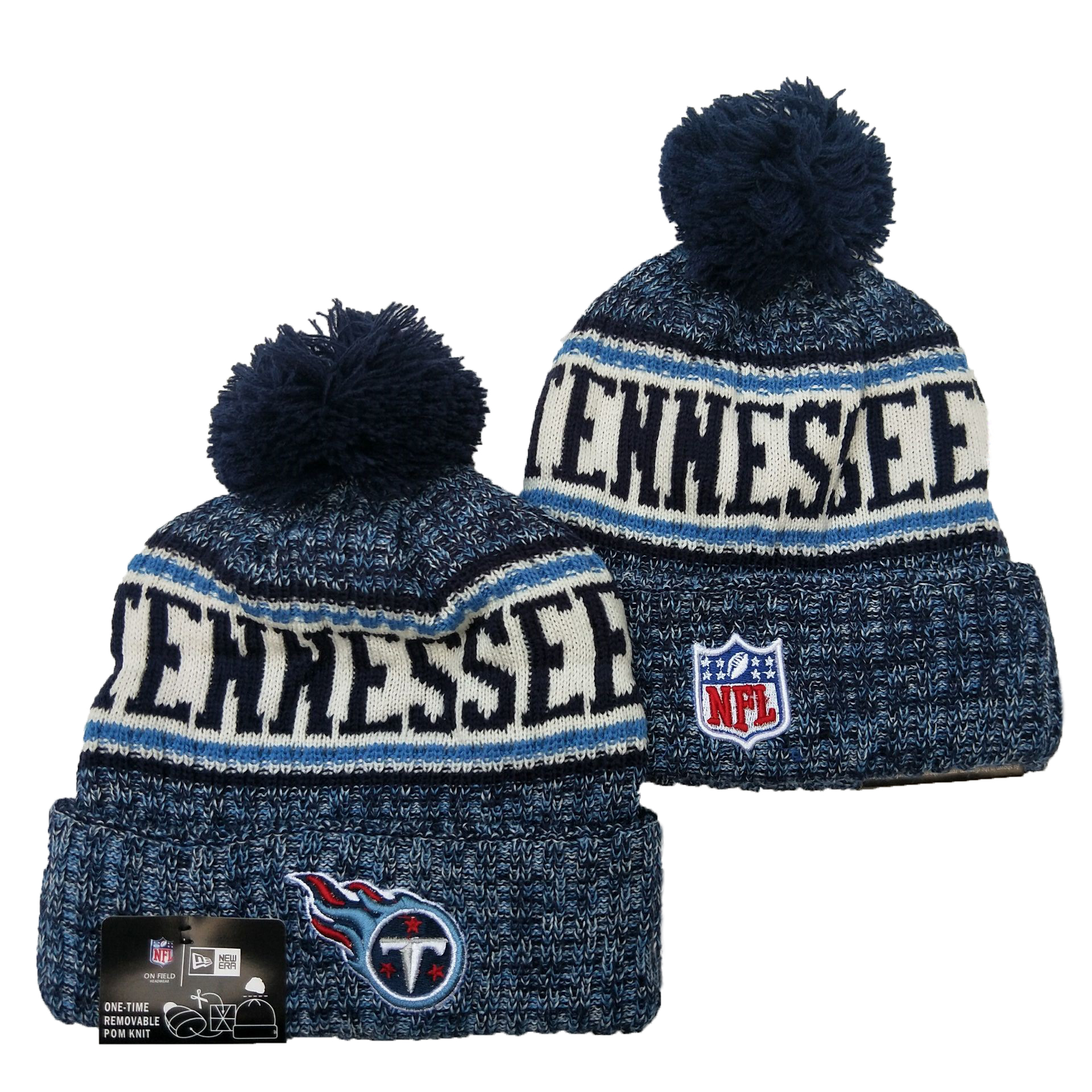 Titans Team Logo Blue Pom Knit Hat YD