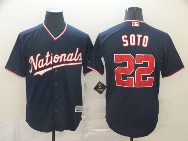 Nationals 22 Juan Soto Navy Cool Base Jerseys