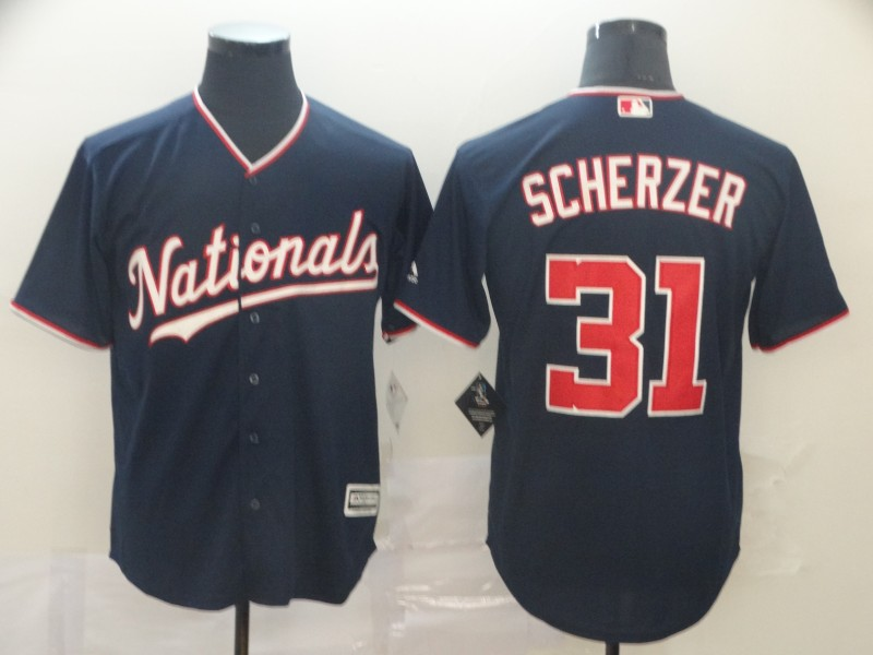 Nationals 31 Max Scherzer Navy Cool Base Jersey