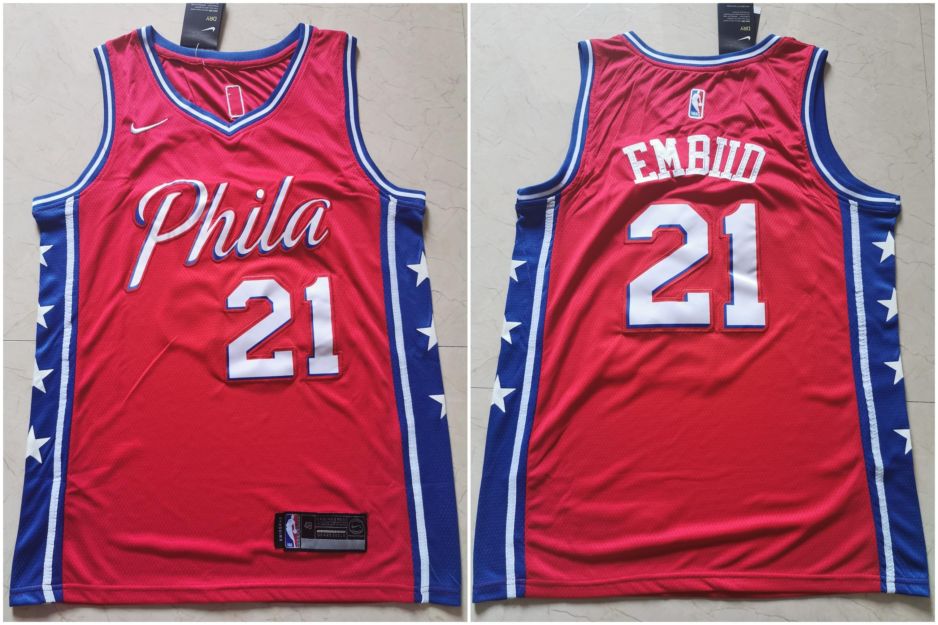 76ers 21 Joel Embiid Red Nike Swingman Jersey