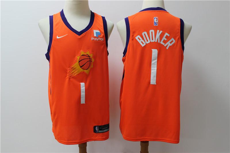 Suns 1 Devin Booker Orange Nike Swingman Jersey