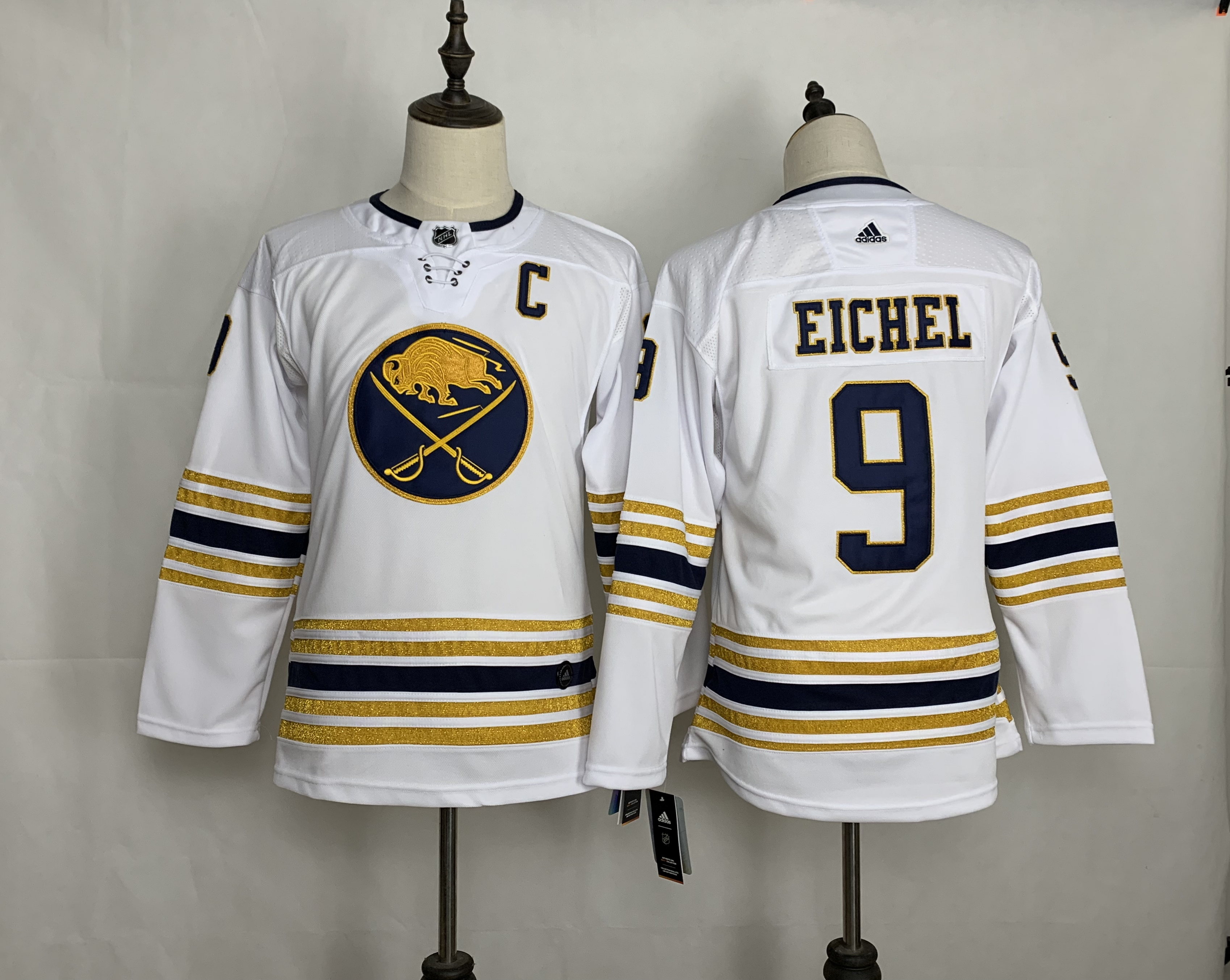 Sabres 9 Jack Eichel White Youth 50th anniversary Adidas Jersey