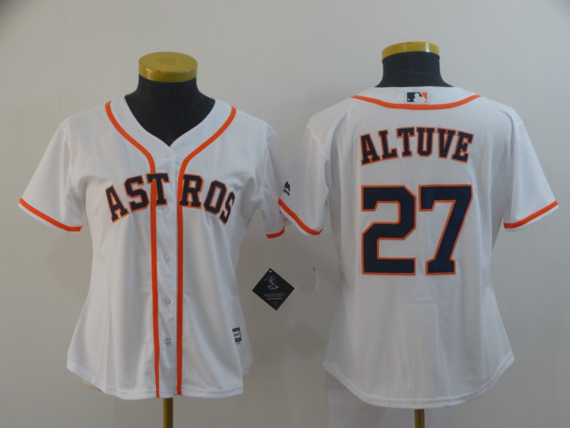 Astros 27 Jose Altuve White Women Cool Base Jersey