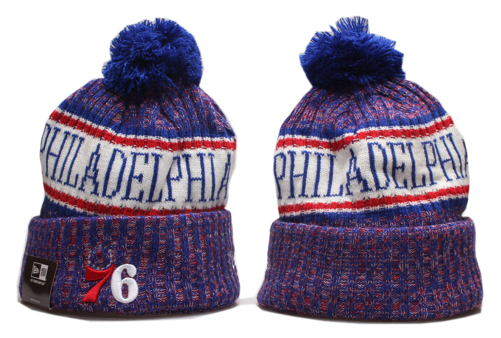 76ers Team Logo Royal Wordmark Cuffed Pom Knit Hat YP