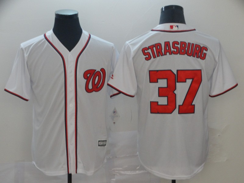 Nationals 37 Stephen Strasburg White Cool Base Jersey