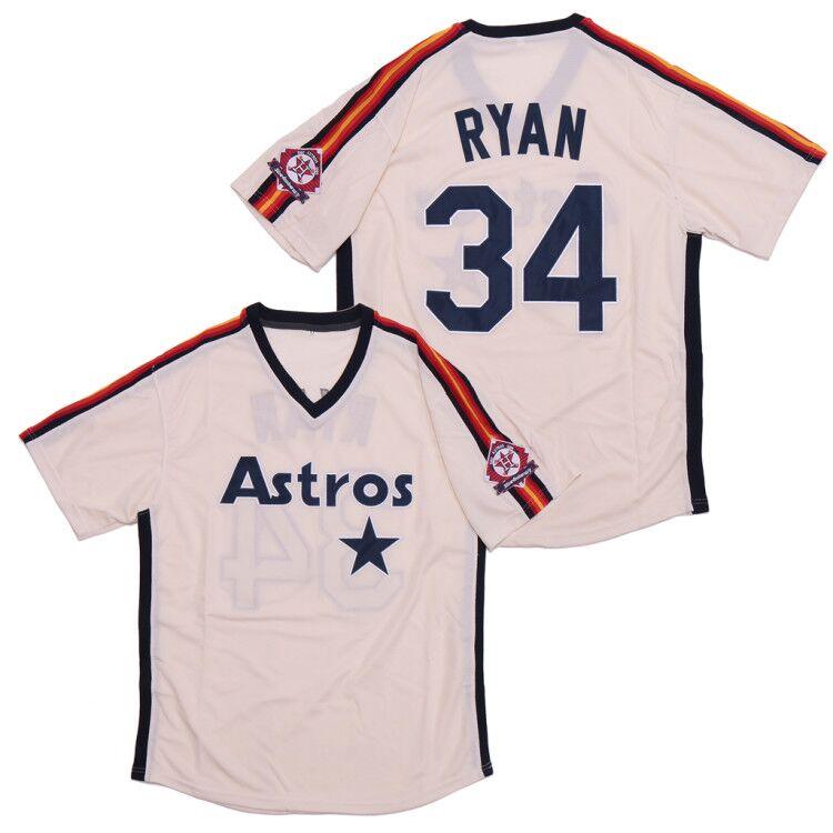 Astros 34 Nolan Ryan White Throwback Jersey