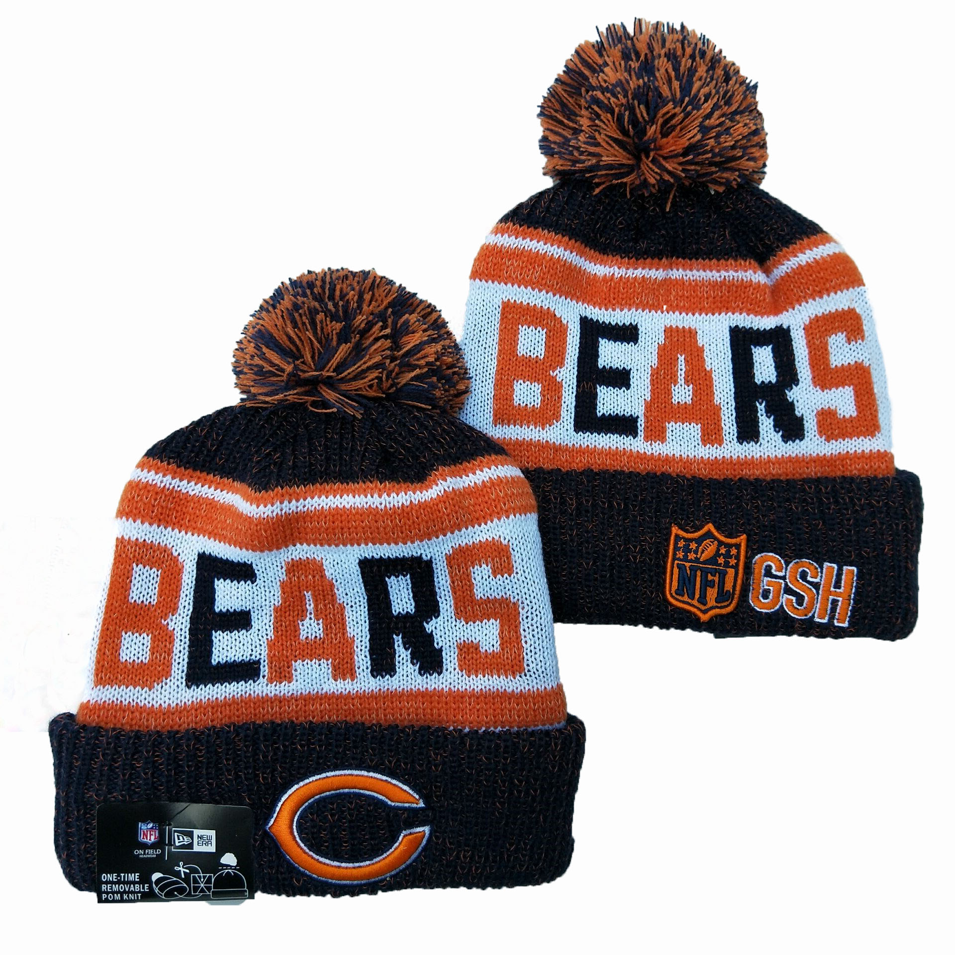 Bears Team Logo Brown Orange Pom Knit Hat YD