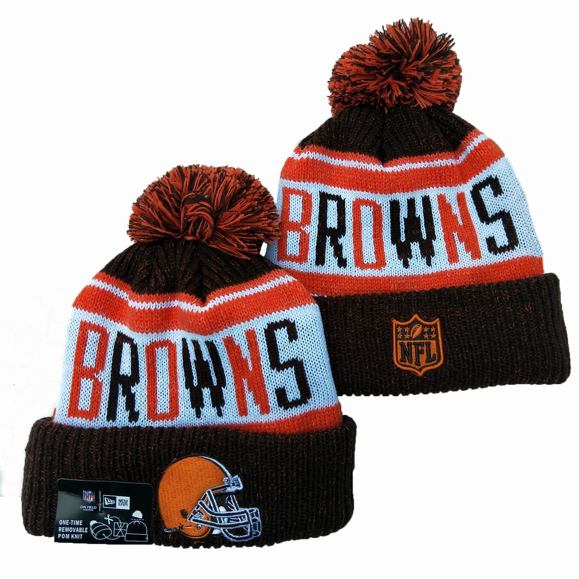 Browns Team Logo Brown Pom Knit Hat YD