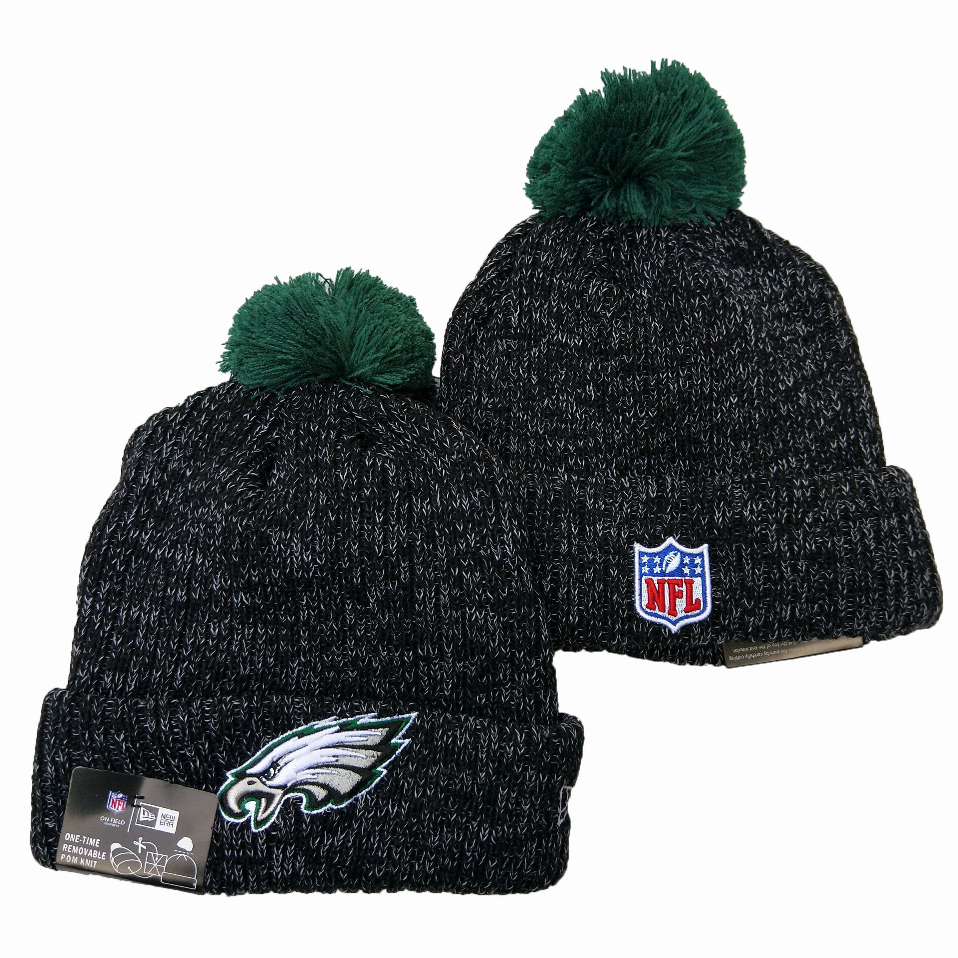 Eagles Team Logo Black Pom Knit Hat YD