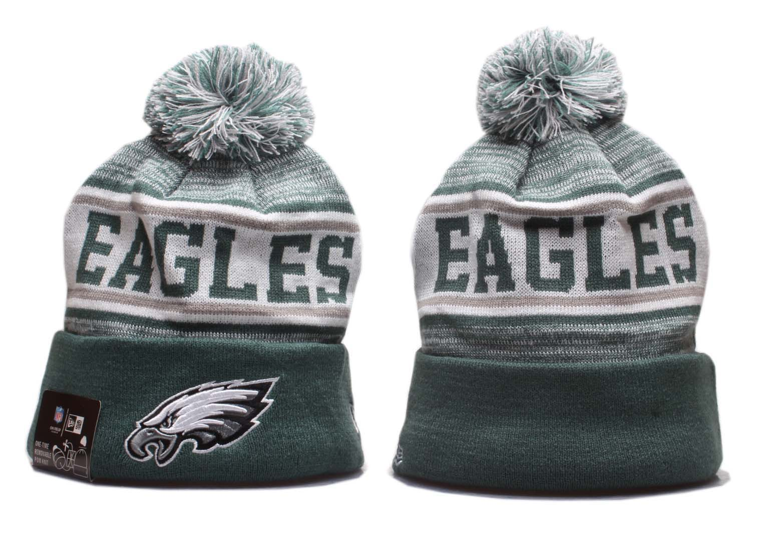 Eagles Team Logo Green Pom Knit Hat YP