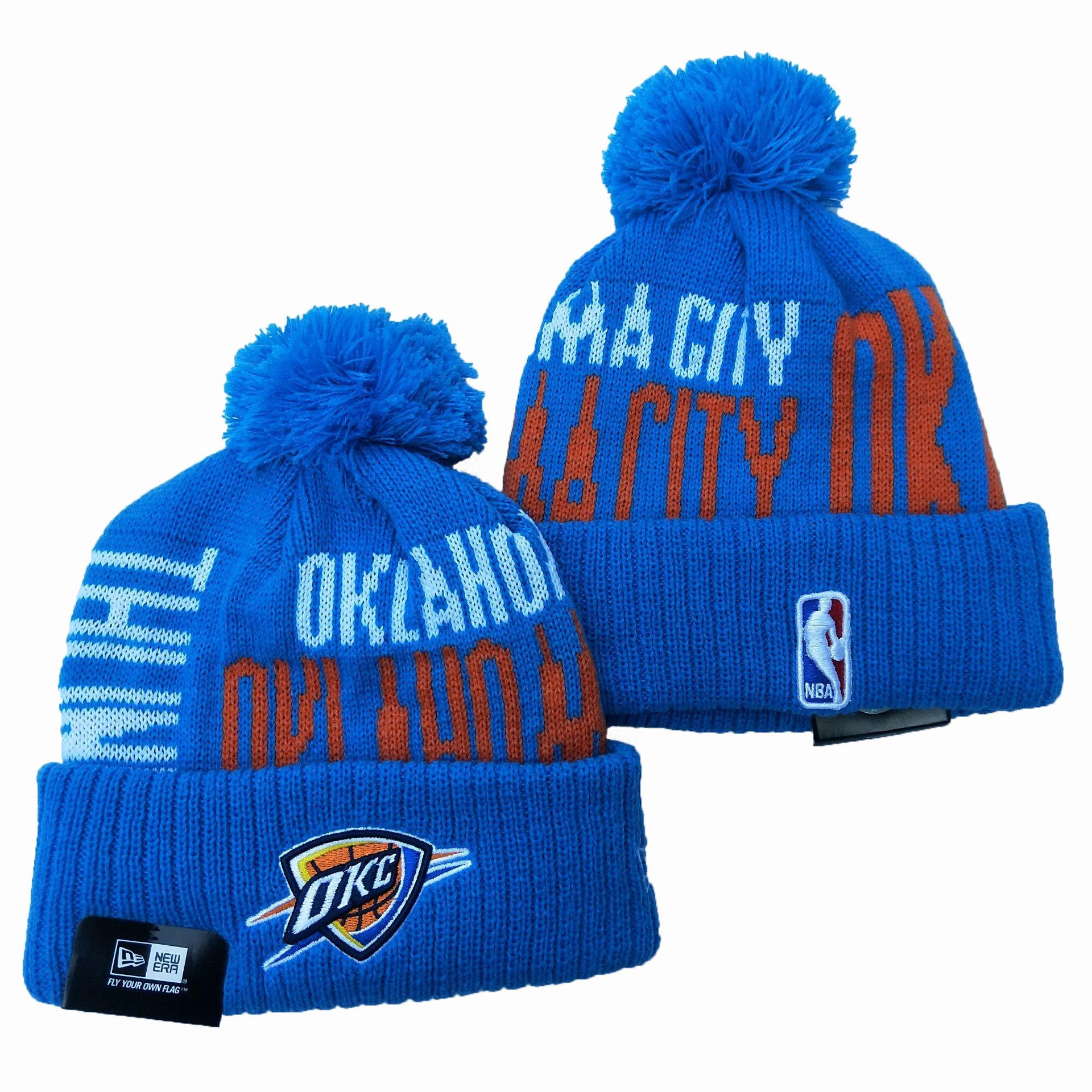 Oklahoma City Thunder Team Logo Blue Pom Knit Hat YD
