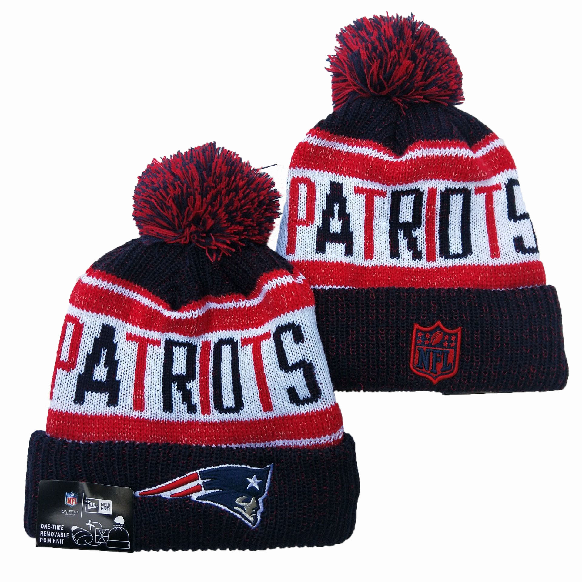 Patriots Team Logo Red Navy Pom Knit Hat YD